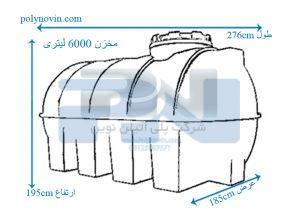 سپتینگ فاضلاب پلی اتیلن 6000 لیتری افقی تک لایه شفاف
