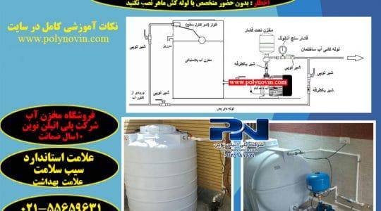 انواع نصب مخزن آب